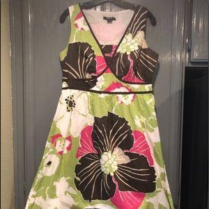 Style & Co V Neck Dress 100% Cotton Multi-Color